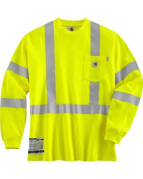 Carhartt Flame Resistant High Visibility Class 3 Long Sleeve Shirt - Big & Tall, Lime, hi-res