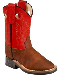 Old West Toddler Boys' Orange Cowboy Boots - Square Toe, Copper, hi-res