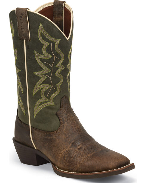 Justin Men's Waxy Brown Western Boots, Brown, hi-res