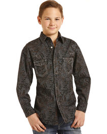 Rock & Roll Cowboy Boys' Paisley Print Triple Stitch Long Sleeve Snap Shirt, , hi-res