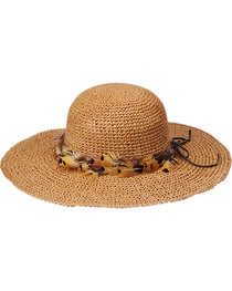"Peter Grimm Rufina 4"" Feather Band Tan Sun Hat, , hi-res"