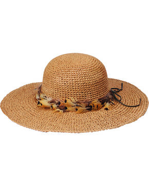 "Peter Grimm Rufina 4"" Feather Band Tan Sun Hat, Tan, hi-res"