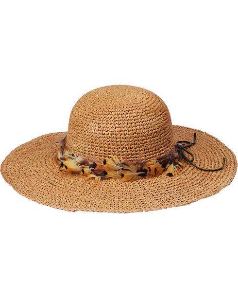 """Peter Grimm Rufina 4"""" Feather Band Tan Sun Hat, Tan, hi-res"""