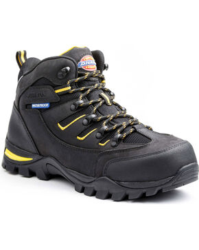Dickies Men's Sierra HIking Work Boots - Steel Toe, Black, hi-res