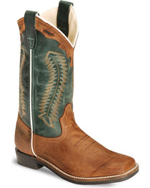 Cody James Boys' Contrast Upper Western Boots - Square Toe, Brown, hi-res