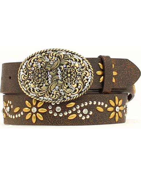 Nocona Floral Studded Crackle Belt, Brown, hi-res