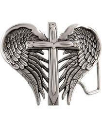 Nocona Belt Co Girl's Winged Cross Belt Buckle, , hi-res