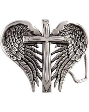 Nocona Belt Co Girl's Winged Cross Belt Buckle, Silver, hi-res