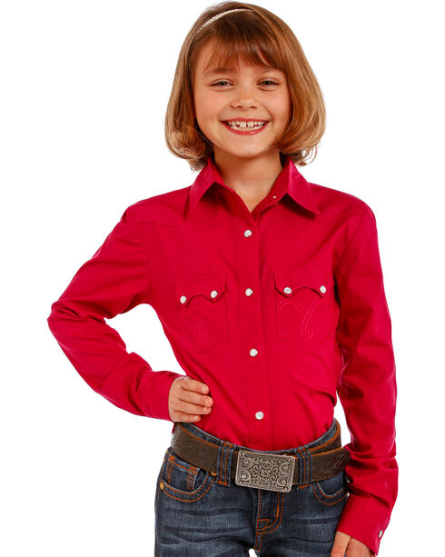 Panhandle Girls' Pink Two Pocket Snap Shirt , Pink, hi-res
