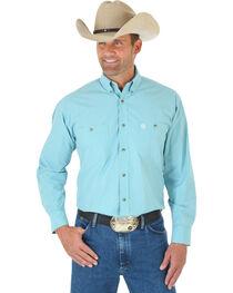 Wrangler Men's George Strait Long Sleeve Two Pocket Plaid Western Shirt, , hi-res
