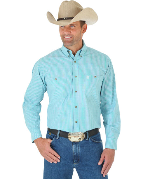 Wrangler Men's George Strait Long Sleeve Two Pocket Plaid Western Shirt, Green, hi-res