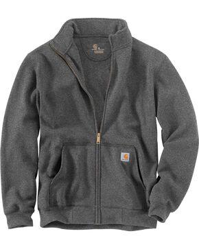 Carhartt Men's Haughton Mock Neck Zip Sweatshirt, Hthr Chrcl, hi-res