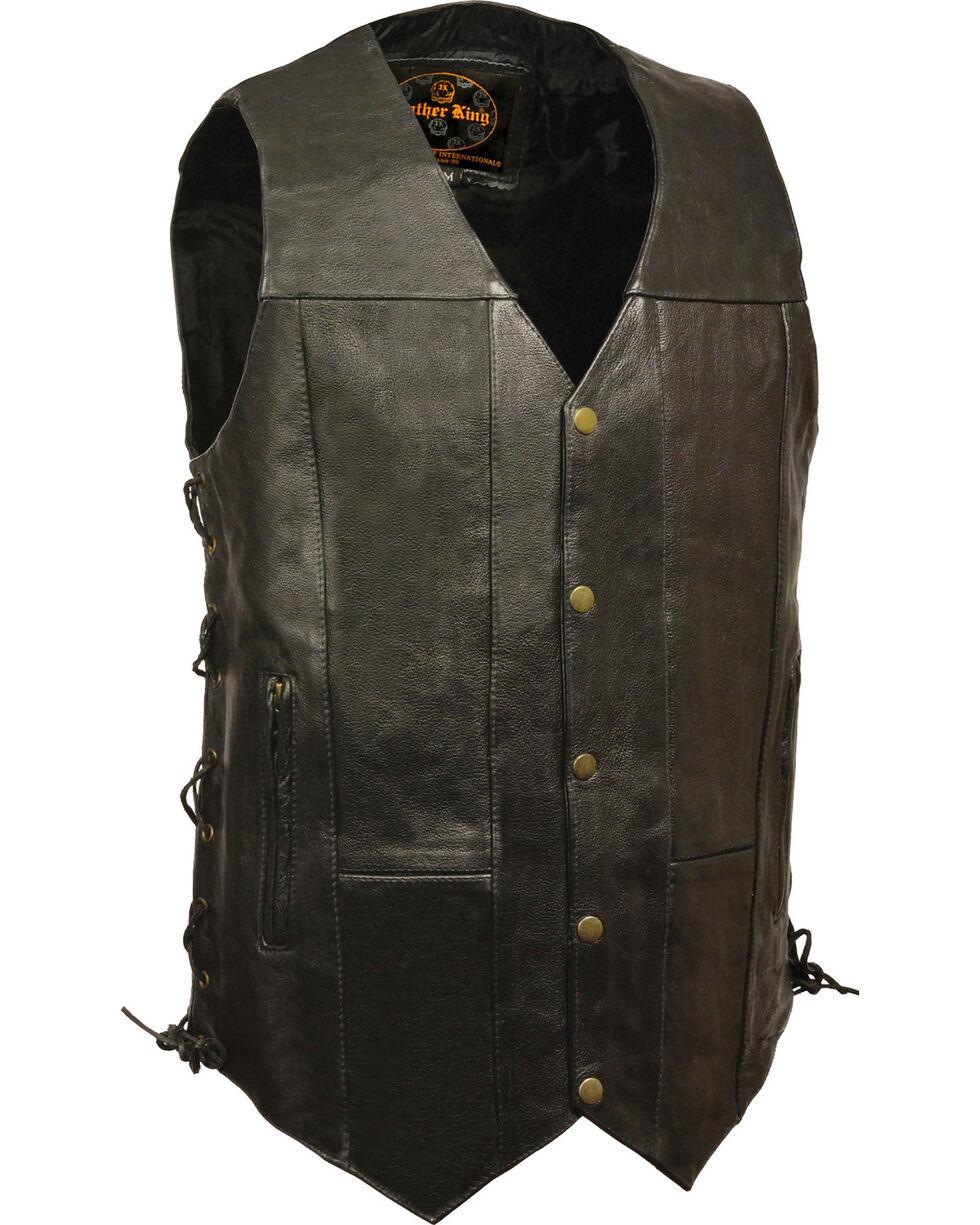Milwaukee Leather Men's Black 10 Pocket Side Lace Vest - Big, Black, hi-res