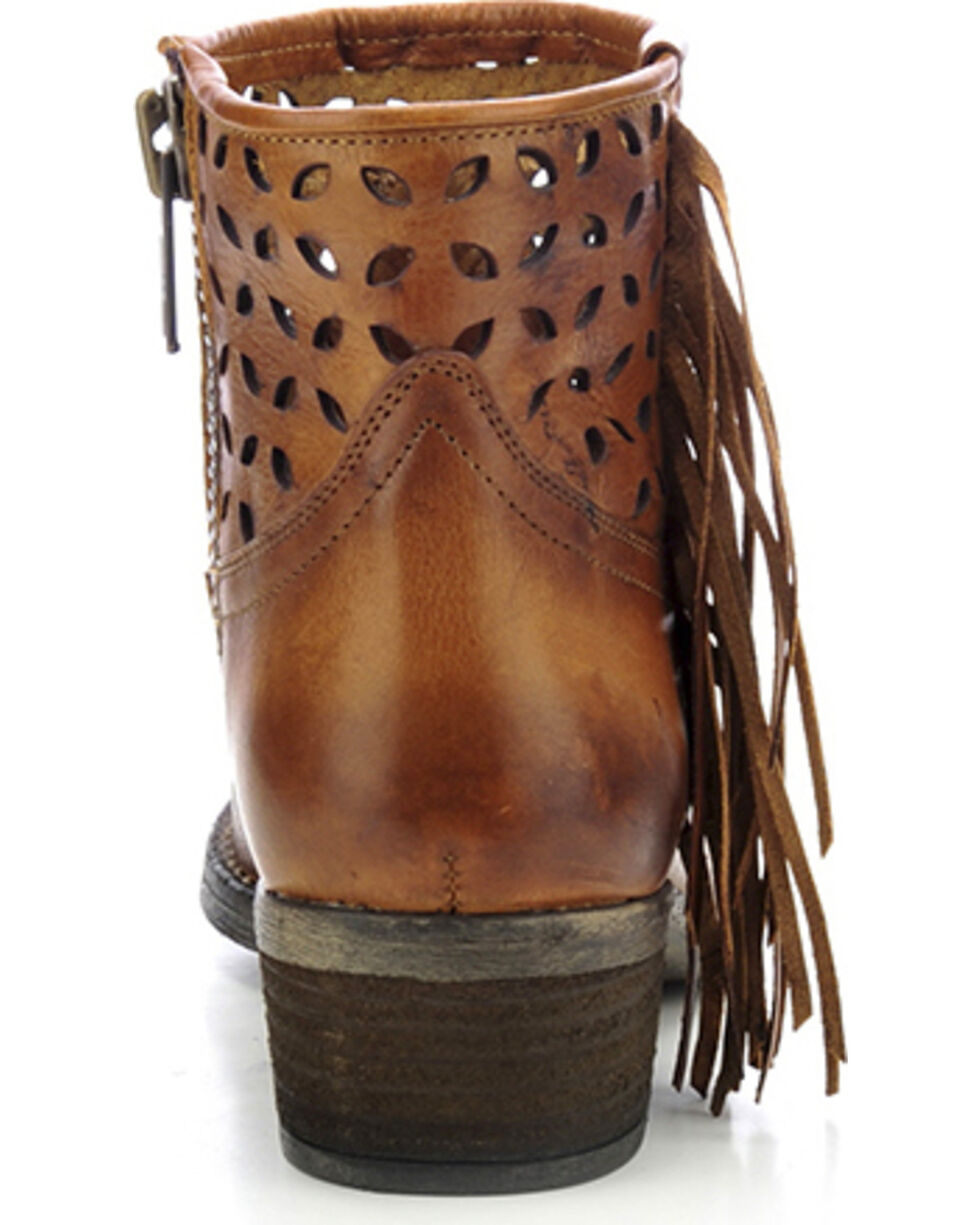 Circle G Women's Fringe Cut-Out Western Booties, Tan, hi-res