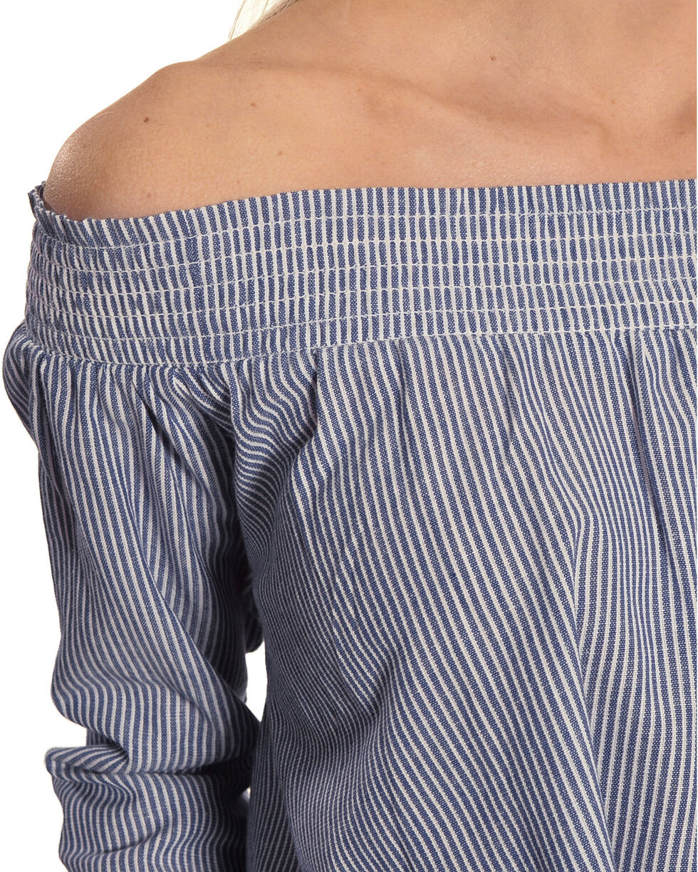 New Direction Sport Women's Striped Off-The-Shoulder Top, Blue, hi-res