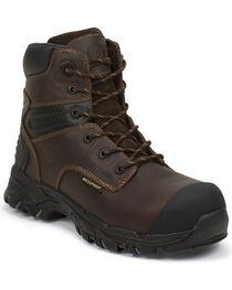 "Justin Men's Work Tek 6"" Waterproof Lace-Up Work Boots, Brown, hi-res"