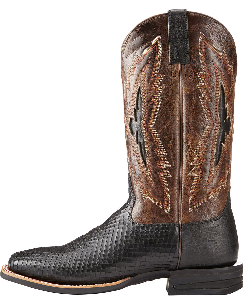 Ariat Men's Black Top Notch Serpent Print Boots - Square Toe , Black, hi-res