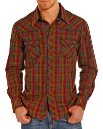 Rock and Roll Cowboy Men's Western Plaid Long Sleeve Shirt, , hi-res