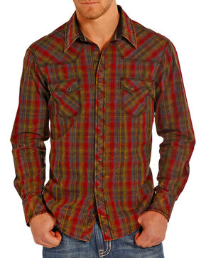 Rock and Roll Cowboy Men's Western Plaid Long Sleeve Shirt, Burgundy, hi-res
