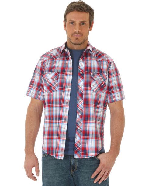 Wrangler Men's Western Plaid Short Sleeve Shirt, Red, hi-res