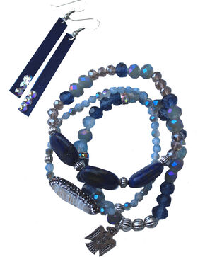 2 Queen B's Women's Royal Blue Crystal & Freshwater Pearl Jewelry Set, Blue, hi-res