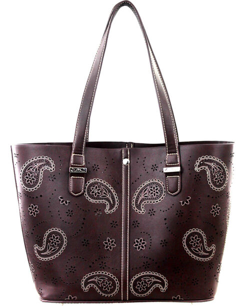 Montana West Paisley Collection Handbag, Brown, hi-res