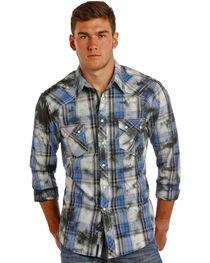 Rock & Roll Cowboy Men's Distressed Plaid Western Shirt, , hi-res