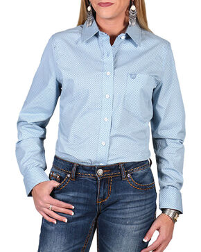 Shyanne Women's Diamond Print Long Sleeve Western Shirt, Light/pastel Blue, hi-res