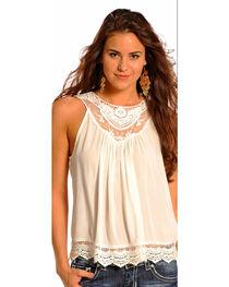 Panhandle Slim Women's Cream Crochet Lace Inset Tank Top , , hi-res