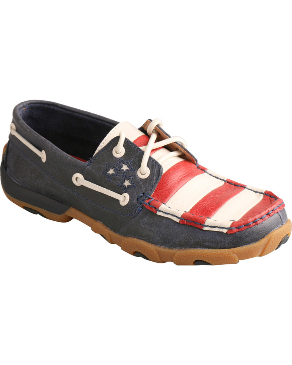 Twisted X Women's VFW Red White & Blue Moc Toe Driving Shoes, Blue, hi-res