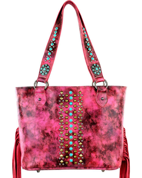 Montana West Pink Fringe Collection Concealed Handgun Handbag, Pink, hi-res