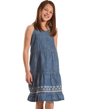 Silver Girls' Sleeveless Tiered Denim Dress, Blue, hi-res