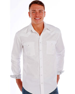 Rough Stock by Panhandle Slim Men's White Grivola Vintage Jacquard Shirt , White, hi-res