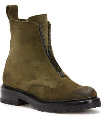 Frye Women's Dark Green Julie Front Zip Boots - Round Toe, , hi-res