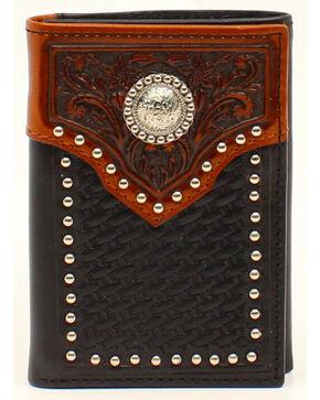 Ariat Basket Weave Embossed Tab Concho Tri-fold Wallet, Black, hi-res