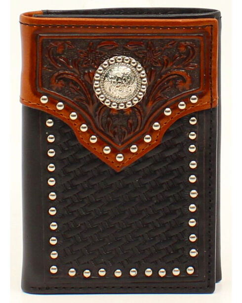 Ariat Basket Weave Embossed Tab Concho Tri-fold Wallet, Black, hi-res