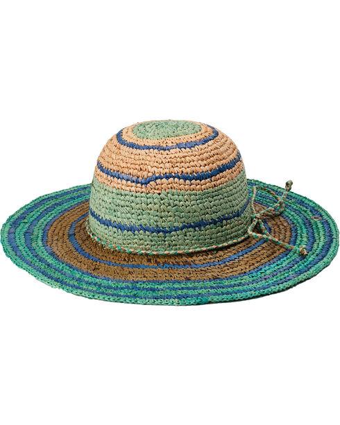 "Peter Grimm Rio 4 1/4"" Striped Teal Raffia Straw Sun Hat, Teal, hi-res"