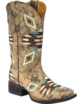 Corral Girls' Aztec Pattern Square Toe Western Boots, Brown, hi-res