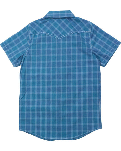 Cody James® Boys' Plaid Short Sleeve Shirt , Blue, hi-res