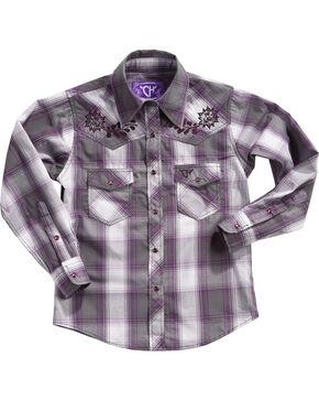 Cowgirl Hardware Girls' Rose Vine Long Sleeve Plaid Shirt , Purple, hi-res