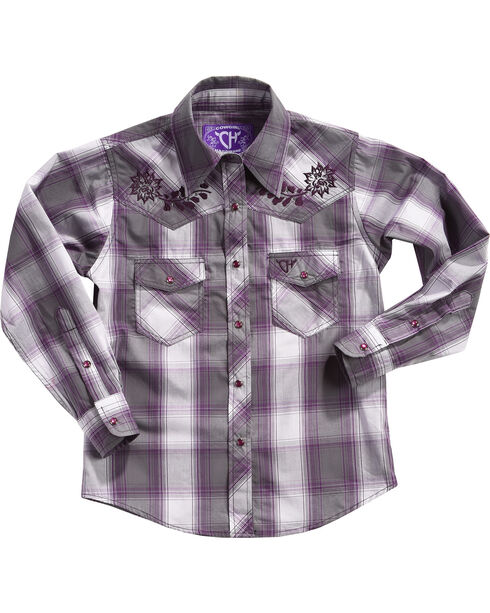 Cowgirl Hardware Girls' Rose Vine Long Sleeve Plaid Shirt , Purple, hi-res