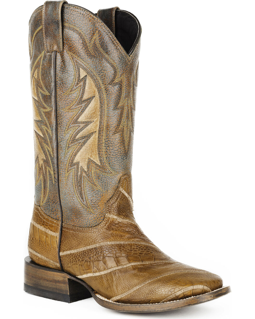 Stetson Men's Tan Ostrich Leg Western Boots - Square Toe , Tan, hi-res