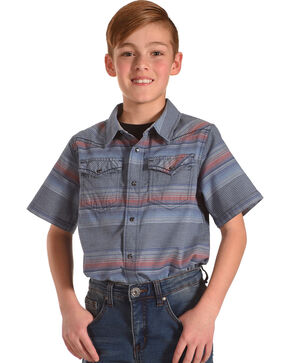 Cody James Boys' Striped Short Sleeve Shirt , Blue, hi-res