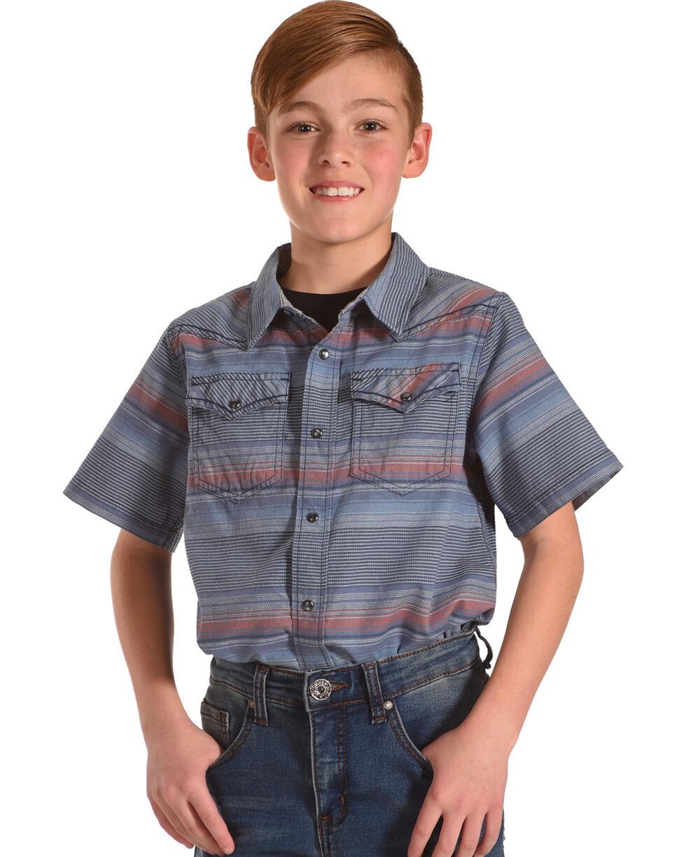 Cody James Boys' Striped Short Sleeve Shirt , Blue, hi-res