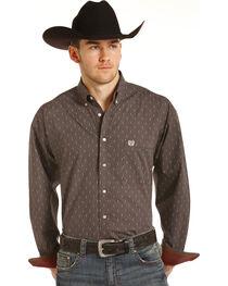 Panhandle Men's Brown Geo Print Long Sleeve Western Shirt, , hi-res