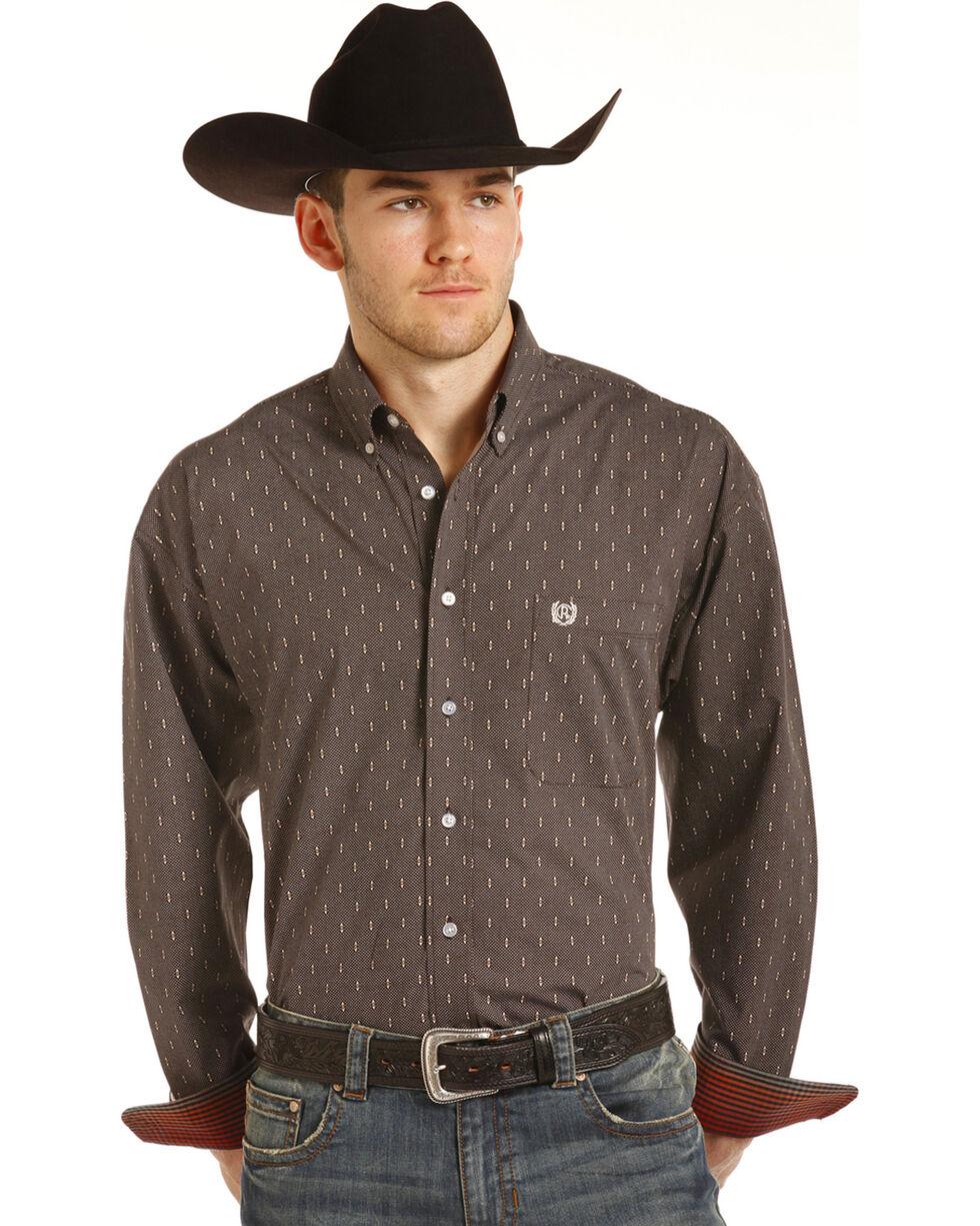 Panhandle Men's Brown Geo Print Long Sleeve Western Shirt, Brown, hi-res