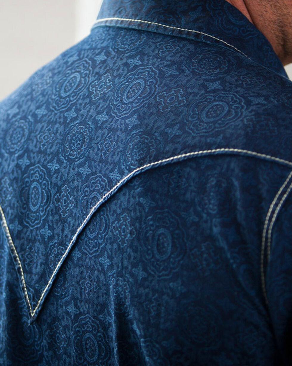 Ryan Michael Men's Dark Blue Indigo Distressed Jacquard Western Shirt, Dark Blue, hi-res