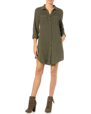 Miss Me Olive Embroidered Shirt Dress, Olive, hi-res