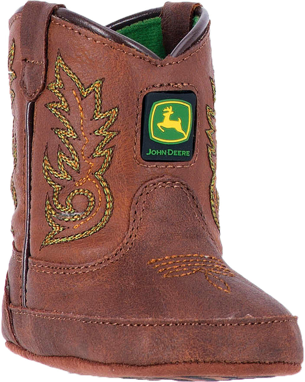 """John Deere Infant Boys' Embroidered 3"""" Boots - Round Toe , Brown, hi-res"""