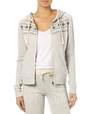 Miss Me Women's Crochet Lace Zippered Hoodie, Hthr Grey, hi-res